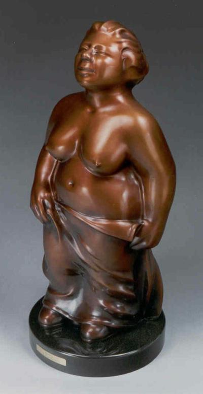 "Bather, bronze, 24"" high"